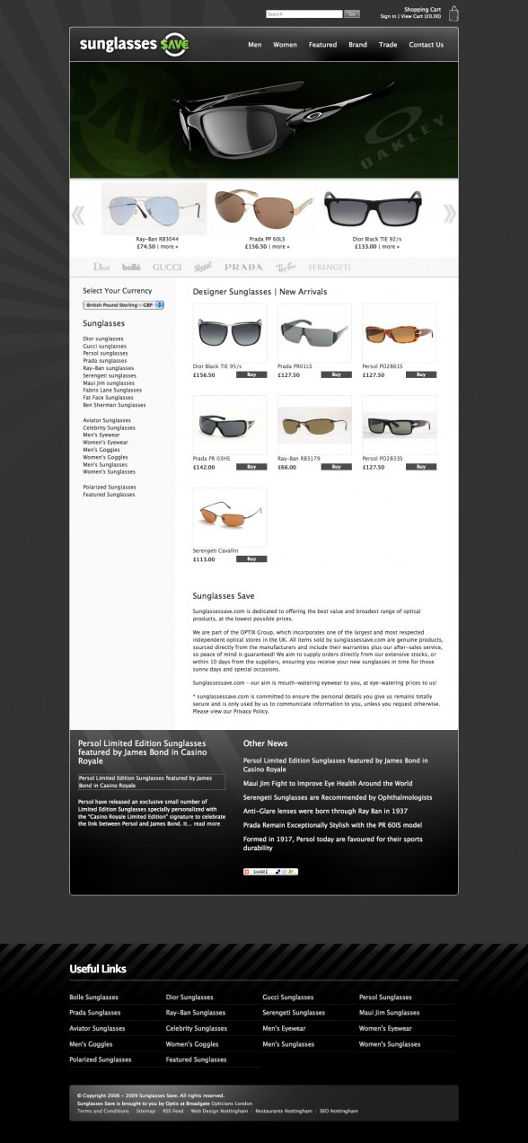 Magento Web Design | Sunglasses Save